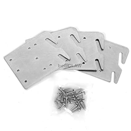 Bed Claw Retro-Hook Plates For Wooden Bed Rail Restoration Set of 4 with  sc 1 st  Amazon.com & Amazon.com: Bed Claw Retro-Hook Plates For Wooden Bed Rail ...
