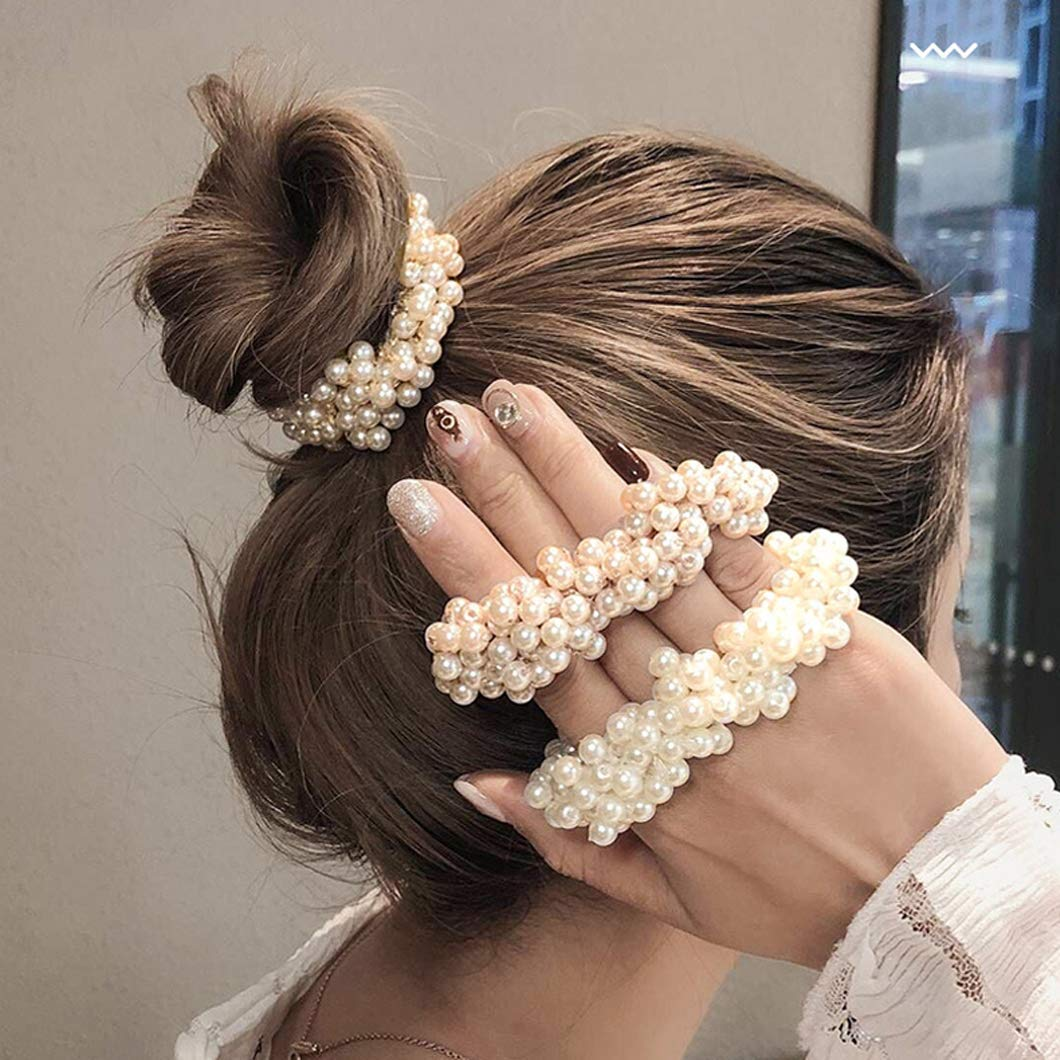 Details about  /Scrunchies Pearl Hair Ropes Woman Ponytail Holders Hair Bands Bow Rubber Bands