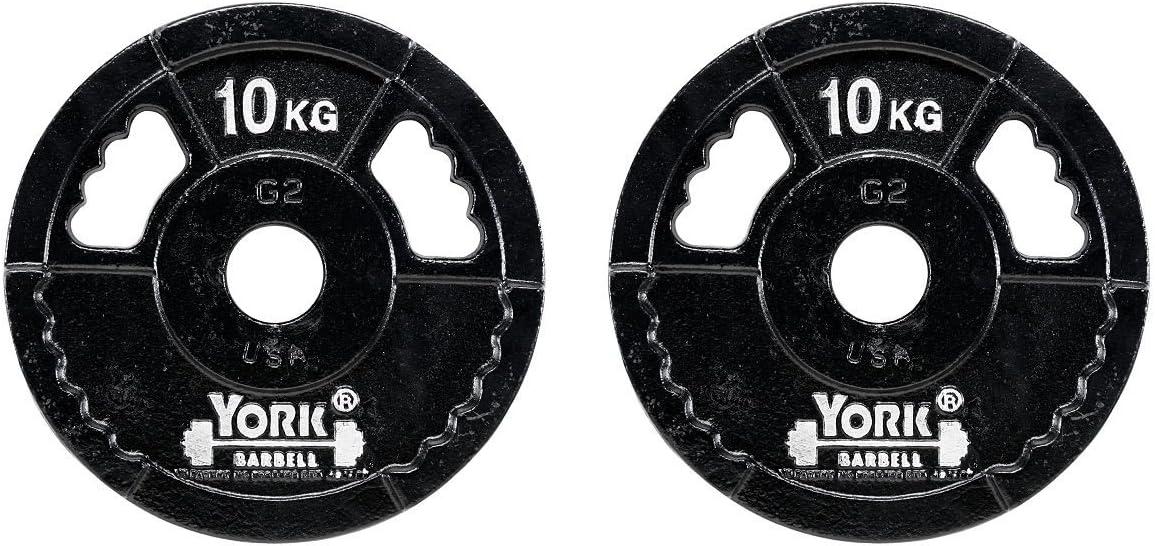 York 2 x 10 kg Hierro fundido G2 peso olímpico placas: Amazon.es: Deportes y aire libre