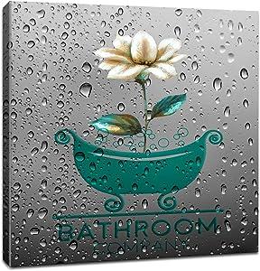 Bathroom Wall Art Prints Teal Gray Bath Tray Flower Bathroom Modern Decorative Canvas Artwork for Wall Decor and Home Decor Framed Ready to Hang 14