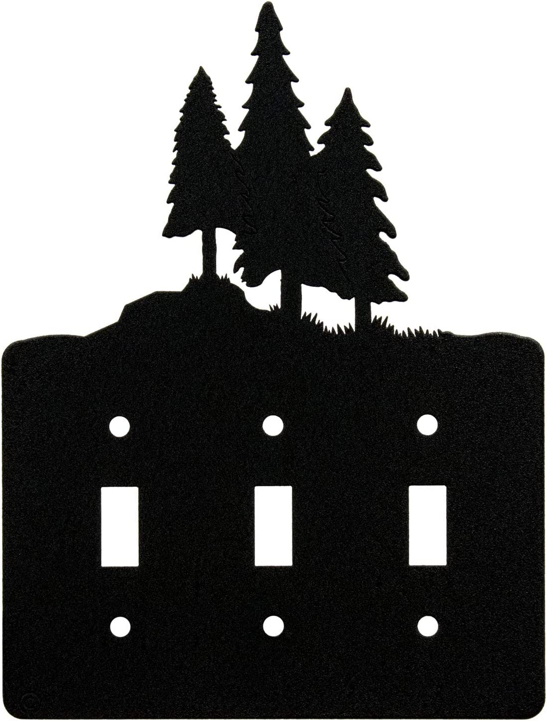 3 Pine Trees Triple Toggle Light Switch Wall Plate (Triple Toggle, Black)