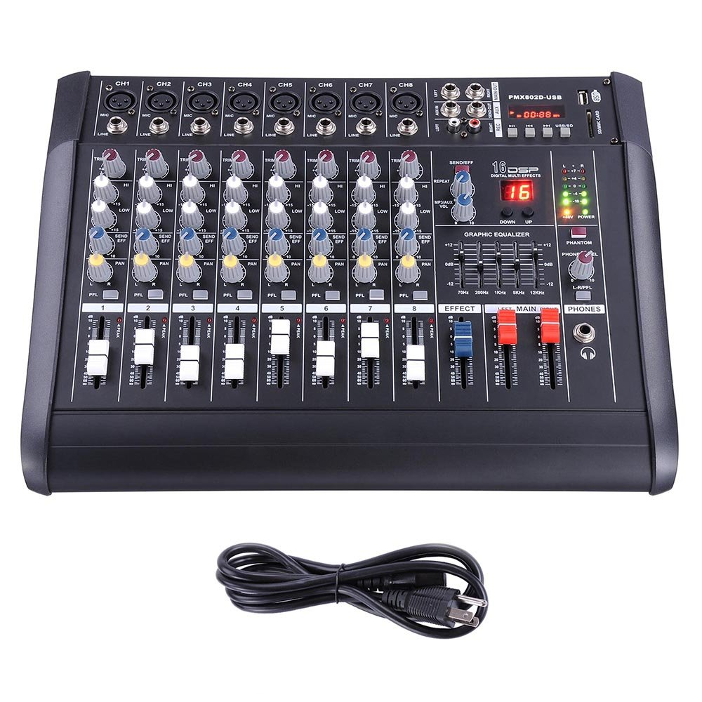AW 8 Channel Professional Powered Mixer with USB Slot Power Mixing