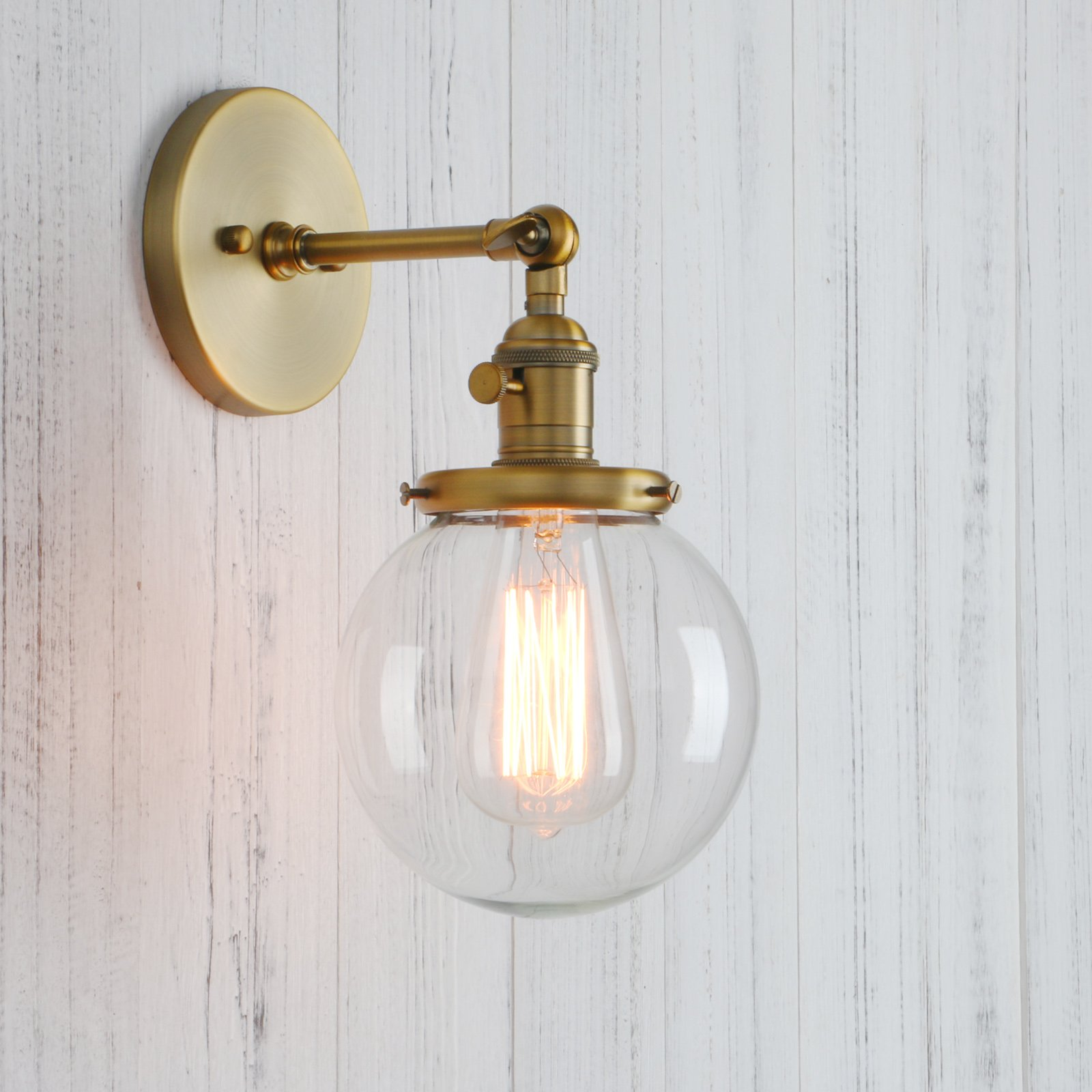 Permo Vintage Industrial Wall Sconce Lighting Fixture with Mini 5.9'' Round Clear Glass Globe Hand Blown Shade (Antique)