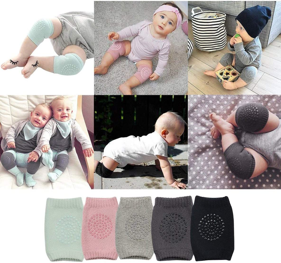 Rouku Toddler Kids Kneepad Protector Thickened Terry Non-Slip Safety Crawling Baby Leg Warmers Knee Pads Unisex For Child