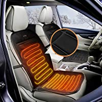 Audew 12V Car Front Seat Hot Heater Heated Pad Cushion Winter Warmer Cover Black Grey