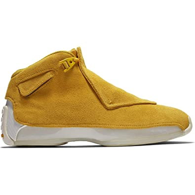 3d6beac06cc Image Unavailable. Image not available for. Color: Jordan Nike Mens Air 18  Retro Basketball Shoes Yellow Ochre/Sail AA2494-701 Size