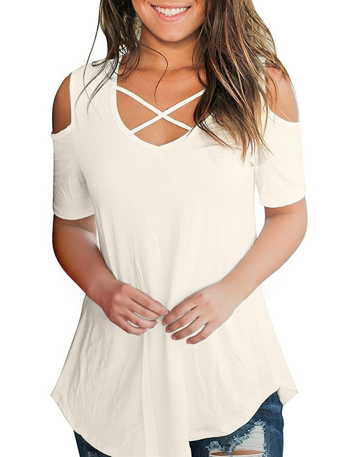 Women's Loose Criss Cross Cold Shoulder Short Sleeve Summer T Shirts Tunic Tops Blouses White Large