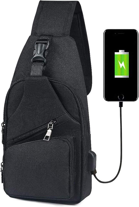 flintronic Sling Bag, Bolsa de Pecho con Puerto de Carga USB y Puerto para Auriculares, Hombres Mujeres Senderismo Ligero Mochila de Viaje (Incluye 1 Cable USB + 1 Gancho de Escalada)