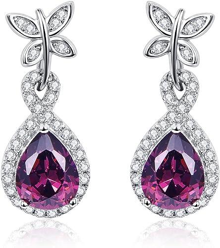 24ct Gold Filled Heart Shape Red Ruby Gemstone 8mm Women's Girl's Stud Earrings