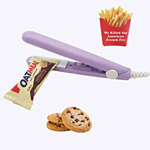 Heat Sealer for Plastic Bags,Mini Sealing Machine, Handheld Food Sealer Bag Resealer for Food Storage with 41 Inch Power Cable(Purple)