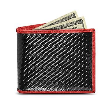 51885870d03 Amazon.com  Genuine Bi-fold Black Carbon Fiber Wallet with Red ...