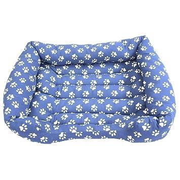 Cama para Perro y Gato Azul Huellas D 95 * 75 cm.: Amazon.es: Hogar