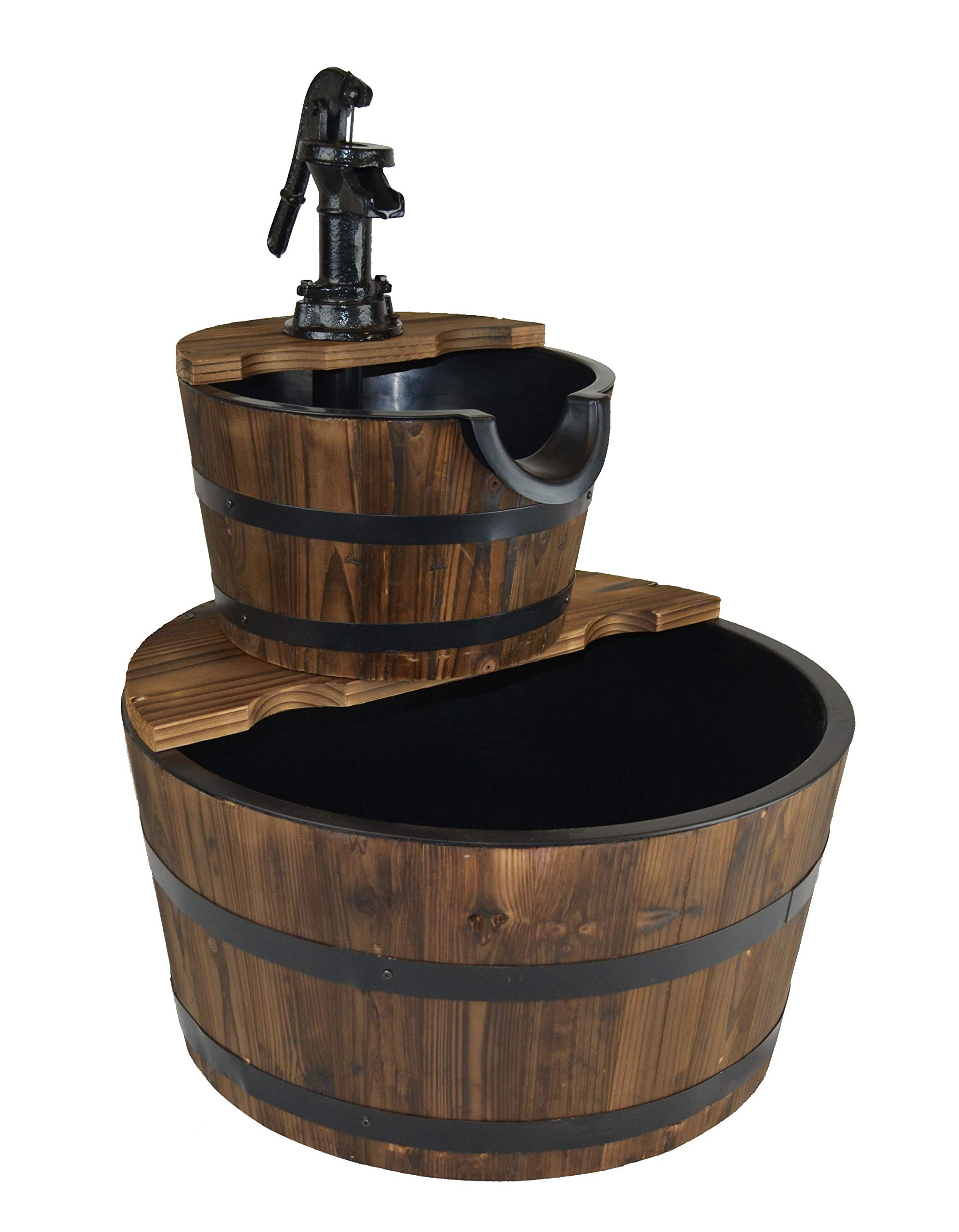 PSW - Water Fountains Water Fountains Outdoor Wood Barrel with Pump - Medium Size Garden Water Fountain Product SKU: PL50066