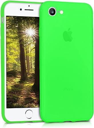Image ofkwmobile Funda Compatible con Apple iPhone 7/8 / SE (2020) - Carcasa de TPU Silicona - Protector Trasero en Verde neón