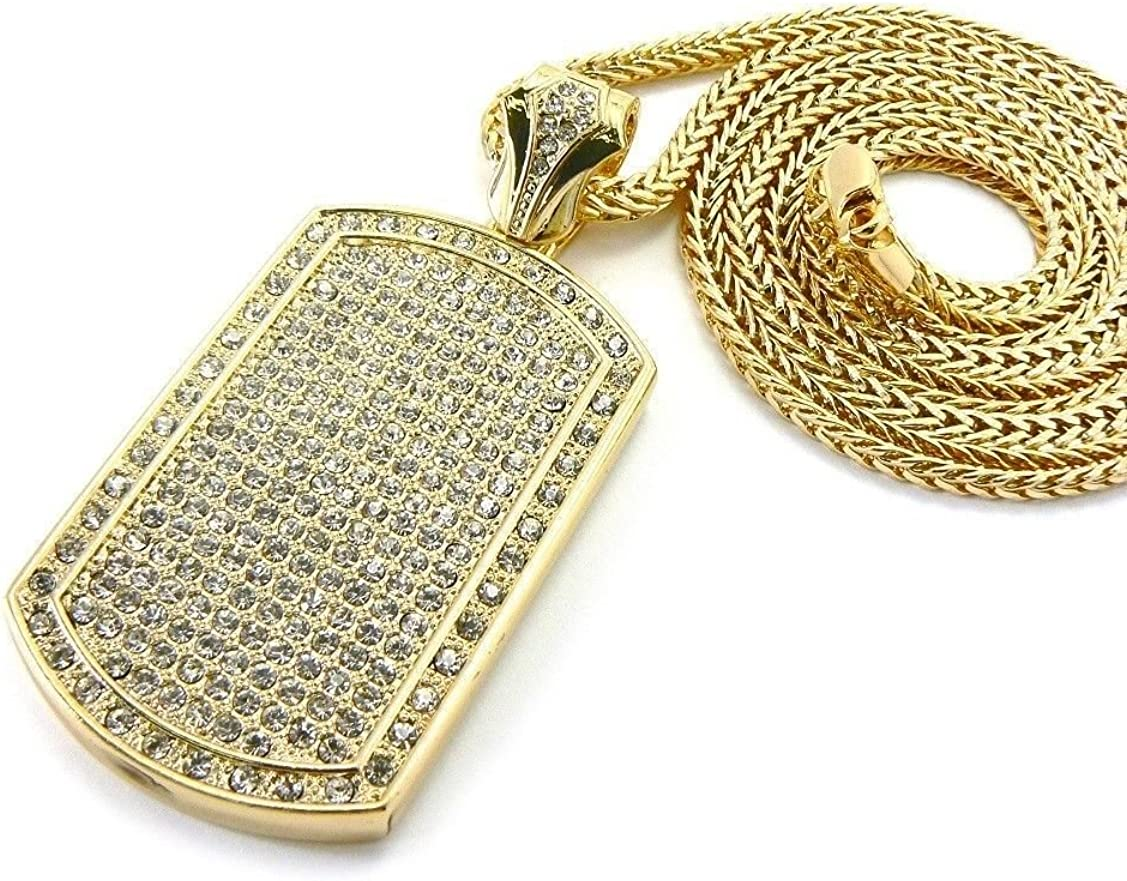 Hip-Hop Bling Large 8MM CZ Cross Gold Stainless Steel