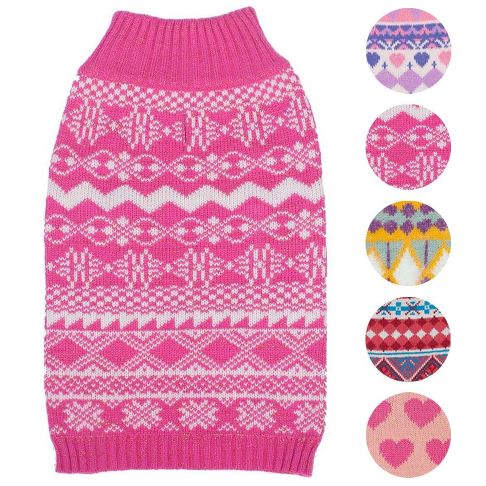 Blueberry Pet 5 Patterns Vintage Tinsel Knit Fair Isle Dog Sweater in Hollywood Cerise, Back Length 12'', Pack of 1 Clothes for Dogs