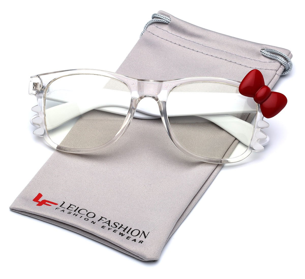 9f5294fcb Galleon - Hello Kitty Bow Women's Fashion Clear Lens Glasses With Bow And  Whiskers