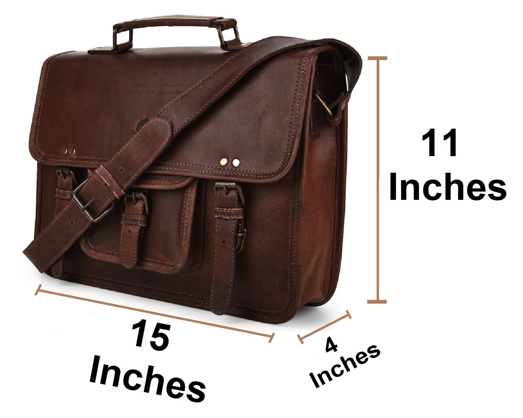 15 Inch Leather Vintage Rustic Crossbody Messenger Courier Satchel Bag Gift Men Women ~ Business Work Briefcase Carry Laptop Computer Book Handmade Rugged & Distressed ~ Everyday Office College School by RusticTown (Image #2)