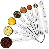 Wuudi Measuring Spoons, All in One Set of 8 Stainless Steel Measuring Spoon for Measuring Dry and Liquid Ingredients