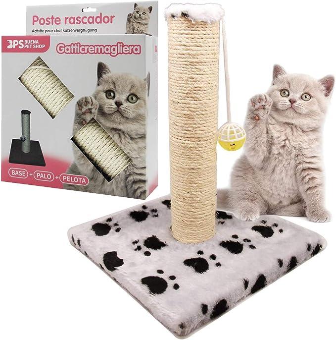 BPS (R) Juguete Rascador Con Campana para Gatos, Amarillo, Morado, Rosa, Gris y Verde, Scraper para Gato, Animales Domésticos 28 x 28 x 32cm ...