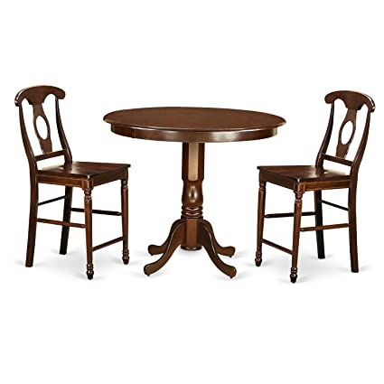 Sensational East West Furniture Trke3 Mah W 3 Piece Pub Table And 2 Kitchen Bar Stool Set Bralicious Painted Fabric Chair Ideas Braliciousco