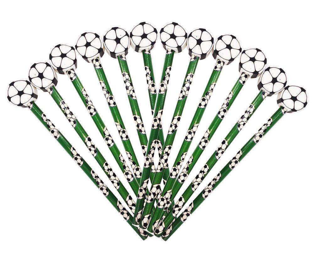 Geschenk zum Abschluss 12 x Fu/ßball HB Bleistifte mit gro/ßem Radiergummi in Kugelform Ideales Partyt/ütenf/üller f/ür Studenten oder Strumpff/üller