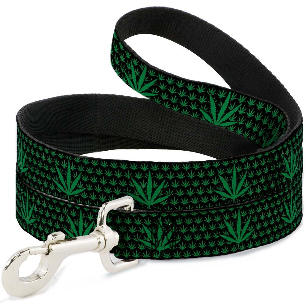 Buckle-Down DL-W31335-N Narrow 0.5  Marijuana Garden Black Green Dog Leash, 4'