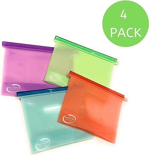 4 bolsas de silicona reutilizables para alimentos, 1000 ml y 1500 ...