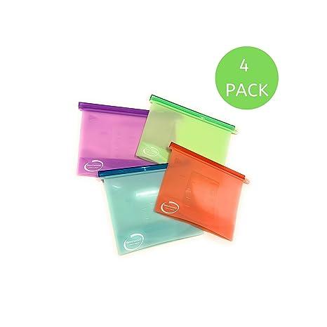 4 bolsas de silicona reutilizables para alimentos, 1000 ml y ...