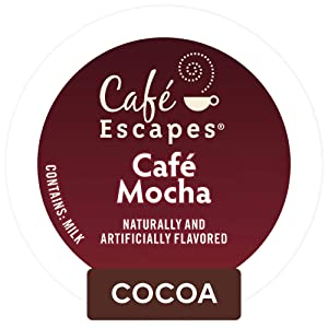 Cafe Escapes, Cafe Mocha Coffee Beverage, Single-Serve Keurig K-Cup Pods, 72 Count (3 Boxes of 24 Pods)
