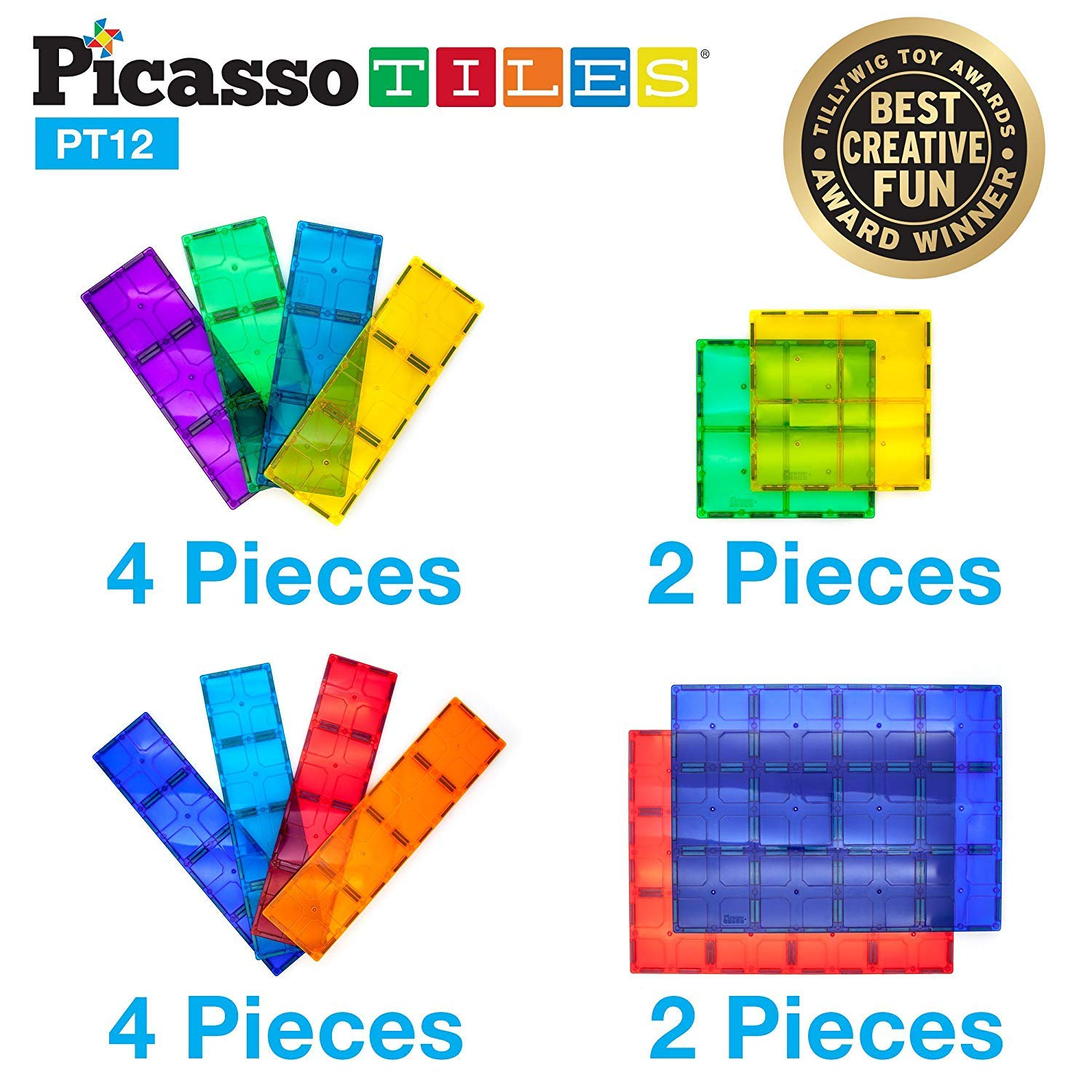 PicassoTiles Kids Toy Magnetic Building Blocks Magnet Tiles Supersized 12pc Large Stabilizer Base Jumbo XL Plate Foundation Education Construction Kit Engineering STEM Children Learning Stacking Set by PicassoTiles