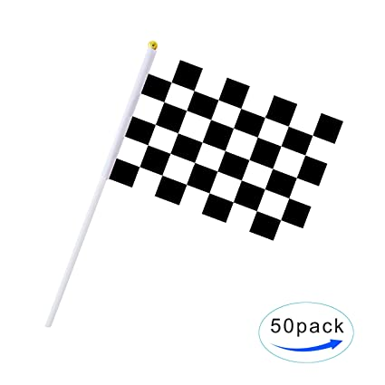 Racing Checkered Flag >> Amazon Com 50 Pack Checkered Flag Racing Flag Hand Held Stick Flags
