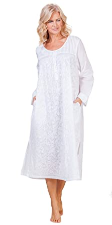 0d30fdc54cf La Cera Plus Boutique Embroidered Long Sleeve Cotton Nightgown in Floral  White (2X (22