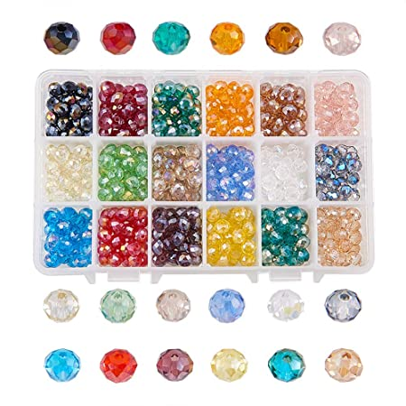 Czech Crystal Glass Faceted Rondelle Beads 6 x 8mm Cyan 70 Pcs AB DIY Jewellery