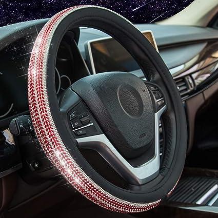 Soft Skidproof Abdeckung Crystal Bling Bling Strass 15// 38 cm feiledi Trade PU Leder Auto Auto Lenkradabdeckung