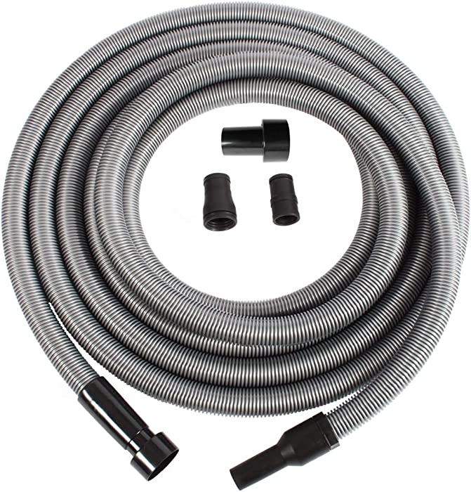 Cen-Tec Systems 94159 Premium 30 Ft. Shop Vacuum Hose with Power Tool Adapter Set, Silver