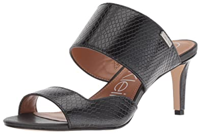 5a7a1bf35a5 Calvin Klein Women s Clementine Heeled Sandal Black Shiny Snake 5 ...