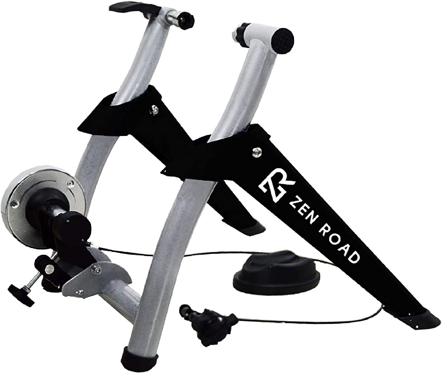 ZenRoad Stationary Bike Trainer Stand - Magnetic Bicycle Trainer Roller with 6-Speed Level Adjustment - Road and Mountain Bike Riding Trainer - Quiet Cycle Holder for Indoor Bike Training Exercise