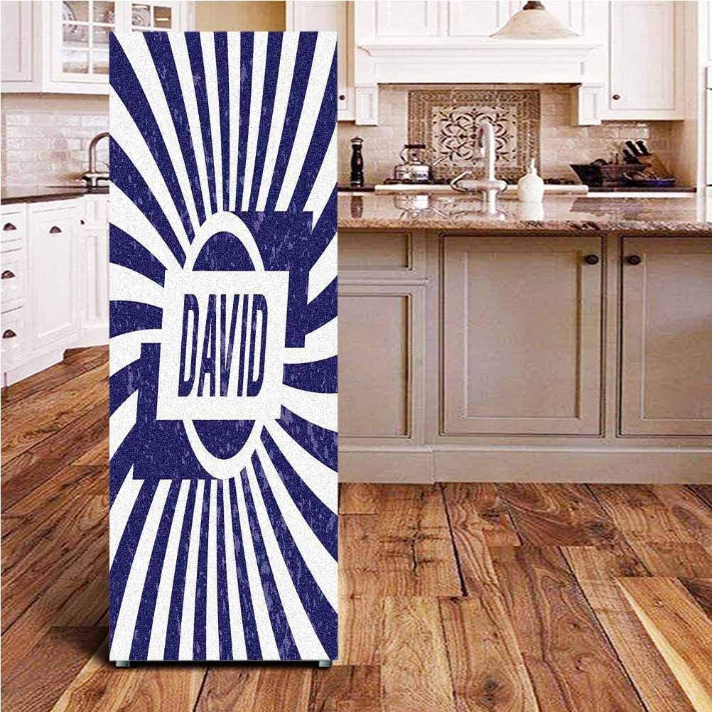 Angel-LJH David 3D Door Fridge DIY Stickers,Boys Birthday Theme Retro Style Graphic Letters on Grungy Navy Color Stripes Door Cover Refrigerator Stickers for Home Gift Souvenir,24x59