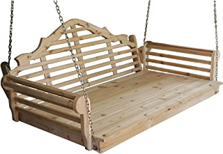 "product image for Outdoor 75"" Marlboro Swing Bed - Linden Leaf Stain - Amish Made in USA"