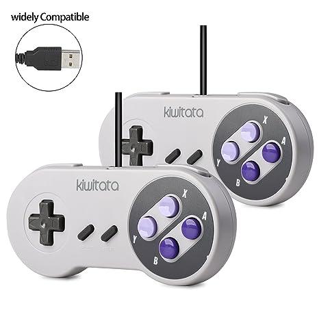 2x Retro SNES USB Super Classic Controller Gamepad, kiwitatá SNES USB PC  Wired Game Controller Joystick for Windows PC Mac Raspberry Pi