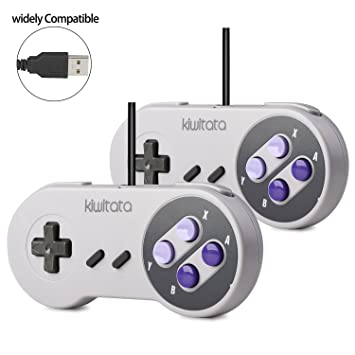 2x Retro SNES USB Super Classic Controller Gamepad, kiwitatá SNES USB PC  Wired Game Controller Joystick for Windows PC Mac Raspberry Pi