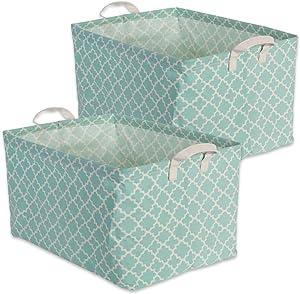 "DII Cotton/Polyester Cube Laundry Basket, Perfect In Your Bedroom, Nursery, Dorm, Closet, 12.5 x 18 x 10.5"", XL Set of 2 - Aqua Lattice"