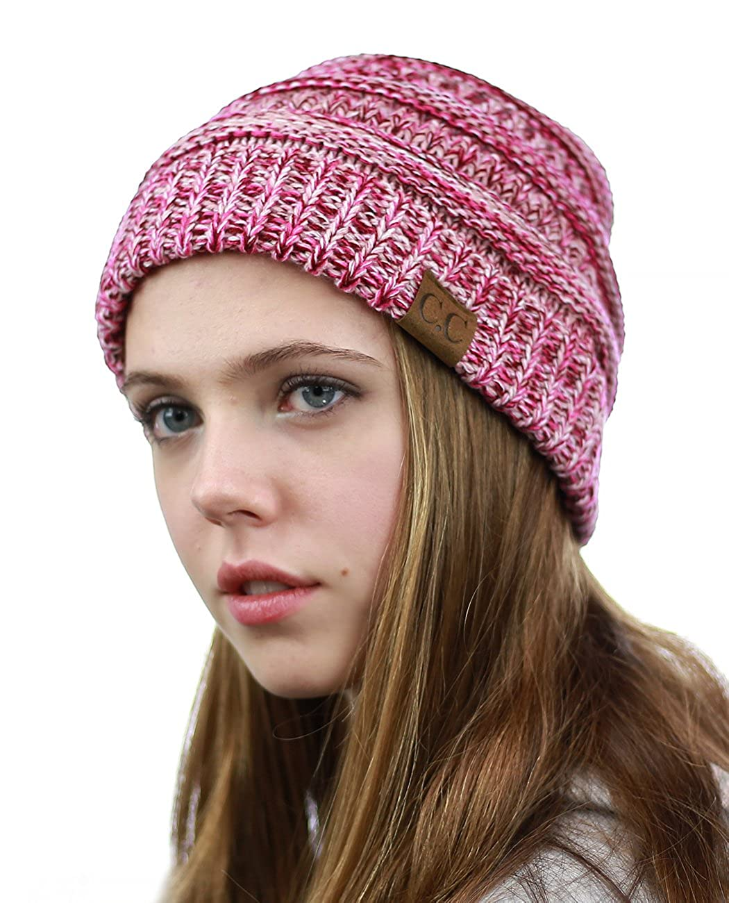 fba361486e3b35 NYFASHION101 Unisex Multicolor Warm Cable Knit Thick Slouch Beanie Cap, 3 Tone  Pink at Amazon Women's Clothing store: