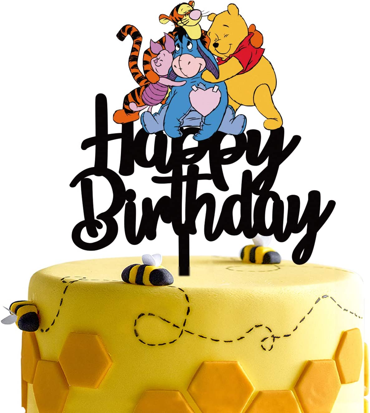 Amazon Com Black Acrylic Winnie The Pooh Happy Birthday Cake Topper Disney Cartoon Winnie The Pooh Theme Birthday Party Suppliers Winnie And Friends Decoration Home Kitchen