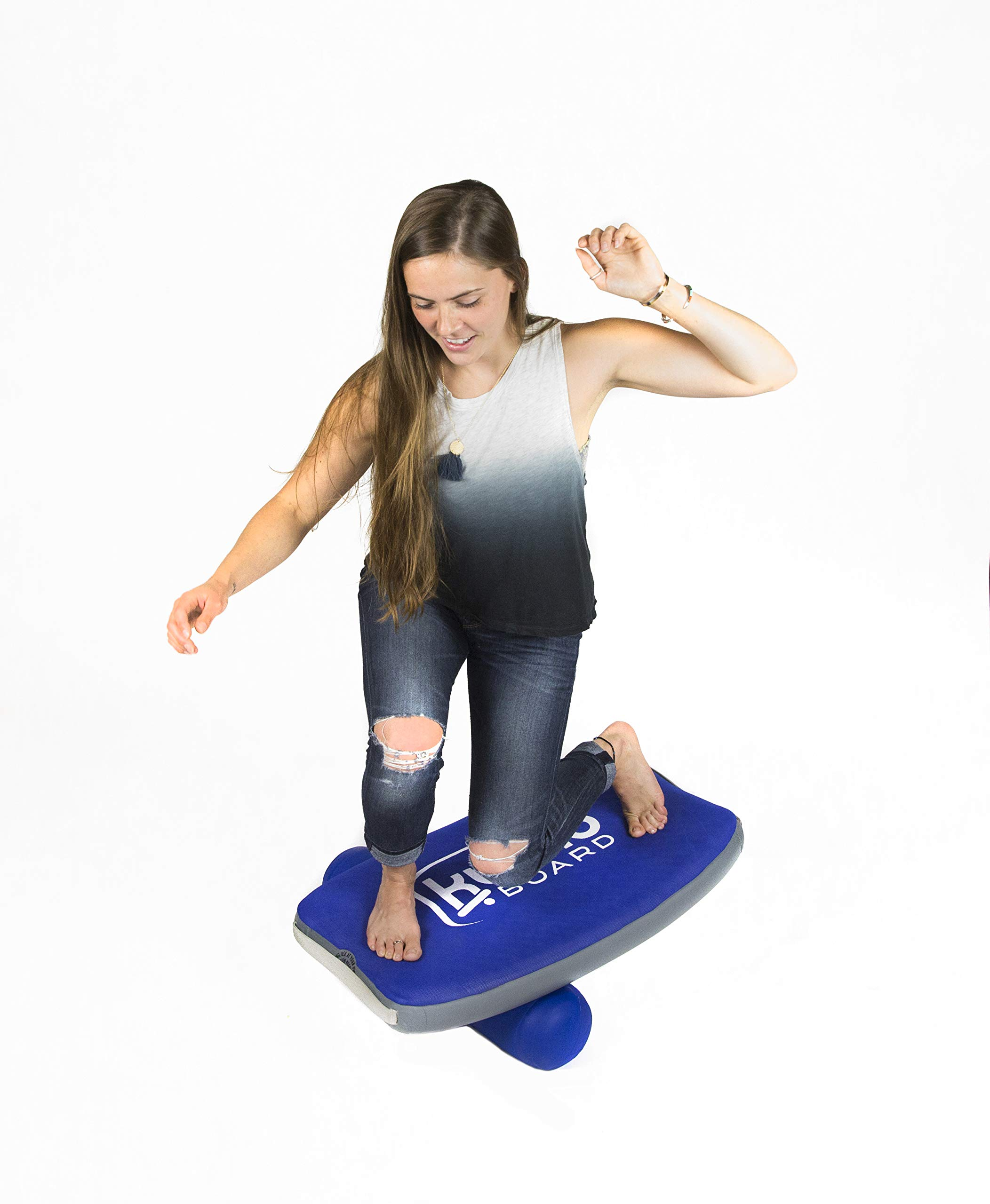 KUMO Inflatable Balance Board for Surf Training, Exercise, Physical Therapy, Standing Desk & Kids - Balancing Rocker Boards with Roller - Soft Inflatable Surfing Trainer Improves Balance & Strength