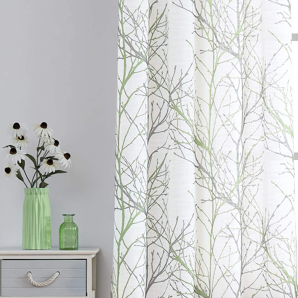 Fmfunctex White Semi-Sheer Curtains 96-inches Long Modern Green and Grey Branches Printing on Linen Textured White Window Treatment Panels for Living Room Bedroom Kitchen Draperies 1 Pair
