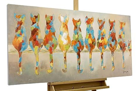KunstLoft® cuadro acrílico Gatos pacientes 120x60cm | Original pintura XXL pintado a mano