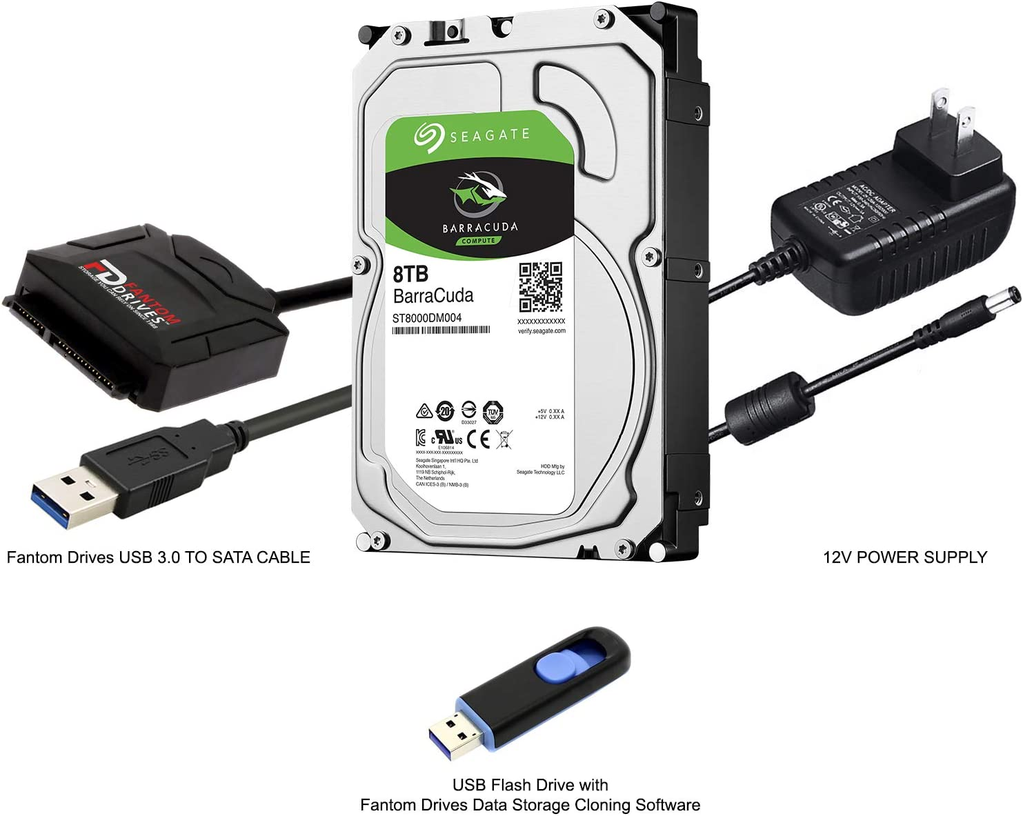 FD 8TB Hard Drive Upgrade Kit with Seagate Barracuda ST8000DM004 for PC and External HDD, Fantom Drives SATA to USB 3.0 Converter and Fantom Drives Cloning Software Inside USB Flash Drive