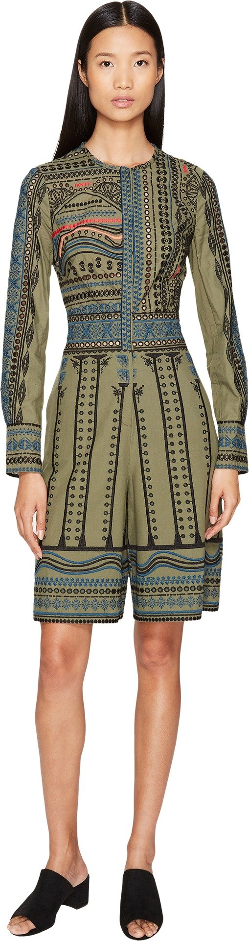 YIGAL AZROUËL Women's Tribal Embroidered Cotton Romper Army Multi 8